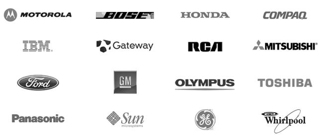 Motorola, Bose, Honda, Compaq, IBM, Gateway, RCA, Mitsubishi, Ford, GM, Olympus, Toshiba, Panasonic, Sun Microsystems, GE, Whirlpool